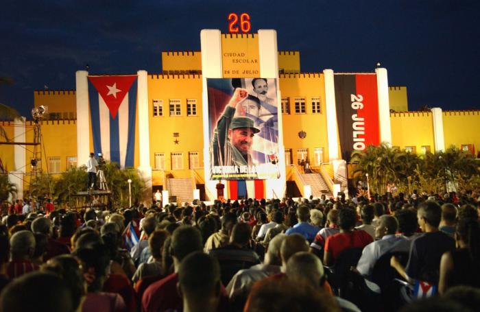 Fidel Castro durante la conmemoración del Aniversario del Asalto al Cuartel Moncada 55 aniversario
