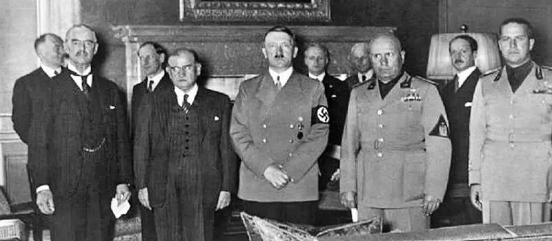 Συμφωνία Μονάχου Τσάμπερλεν- Νταλαντιέ- Χίτλερ-Μουσολίνι - Τσιάνο