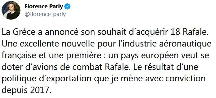 Florence Parly La Grèce a annoncé son souhait d'acquérir 18 Rafale Une excellente nouvelle pour l'industrie aéronautique française
