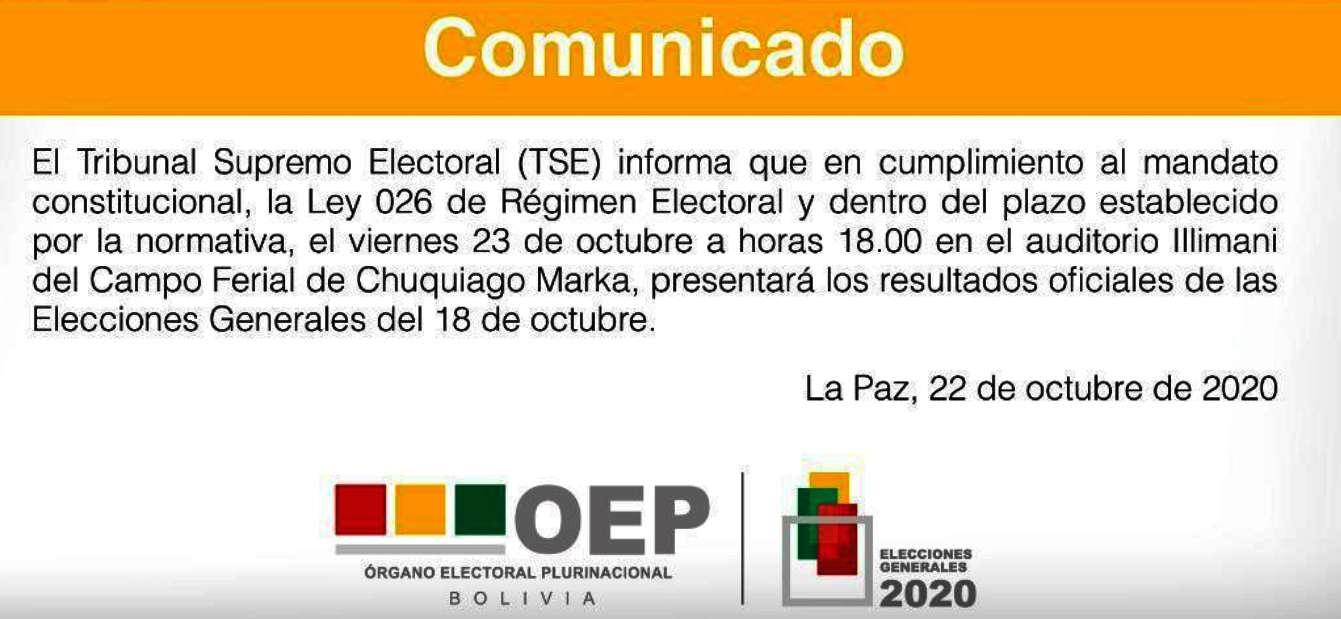 Tweet TSE Bolivia @TSEBolivia