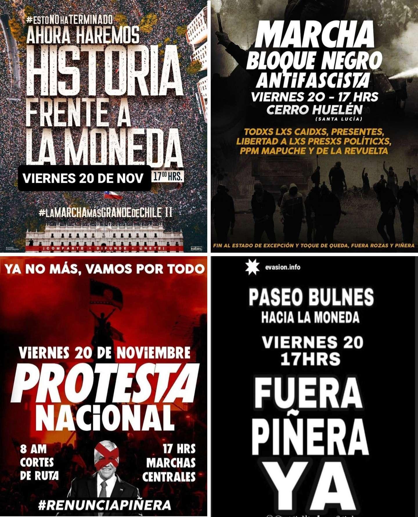 En Chile continúan protestas por renuncia del presidente Piñera