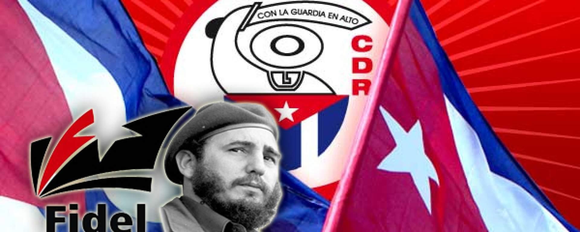 Homenaje a Fidel Castro como fundador de CDR cdr fidel bandera cubana