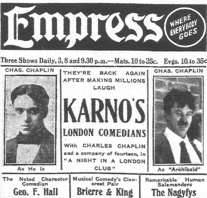 Advertisement Chaplins American tour Fred Karno comedy company 1913