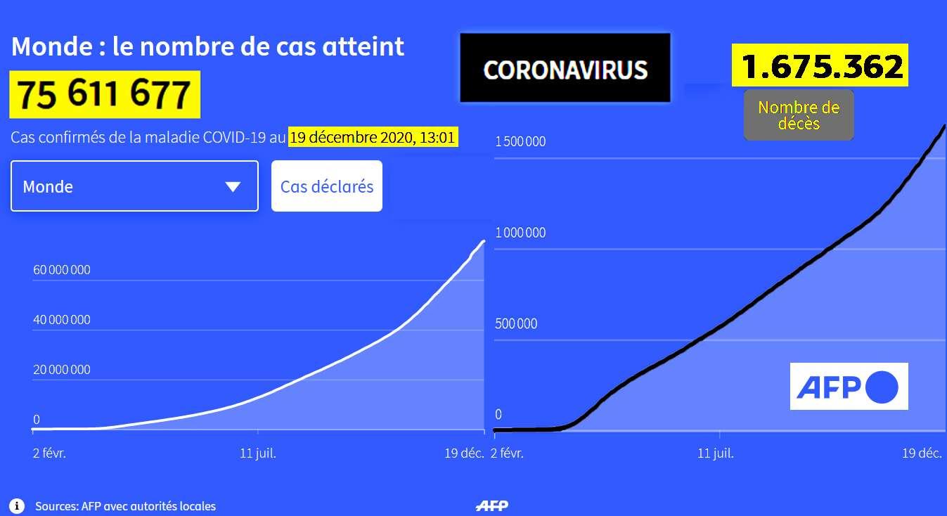 COVID 19 Évolution du nombre de cas et décès AFP 19 Dic 2020