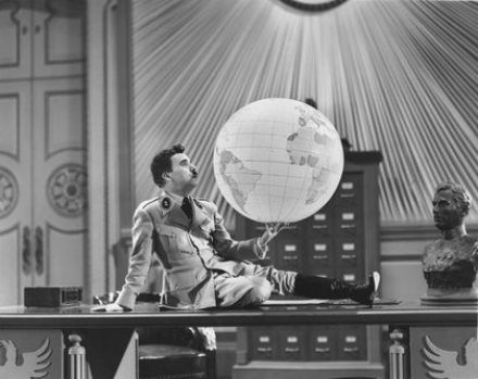 Dictator Chaplin in the globe scene