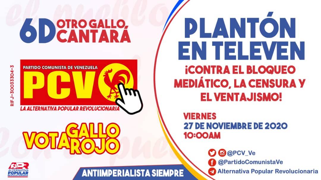 Partido Comunista de Venezuela denunciar el bloqueo mediático la censura y el ventajismo contra la @APR Venezuela