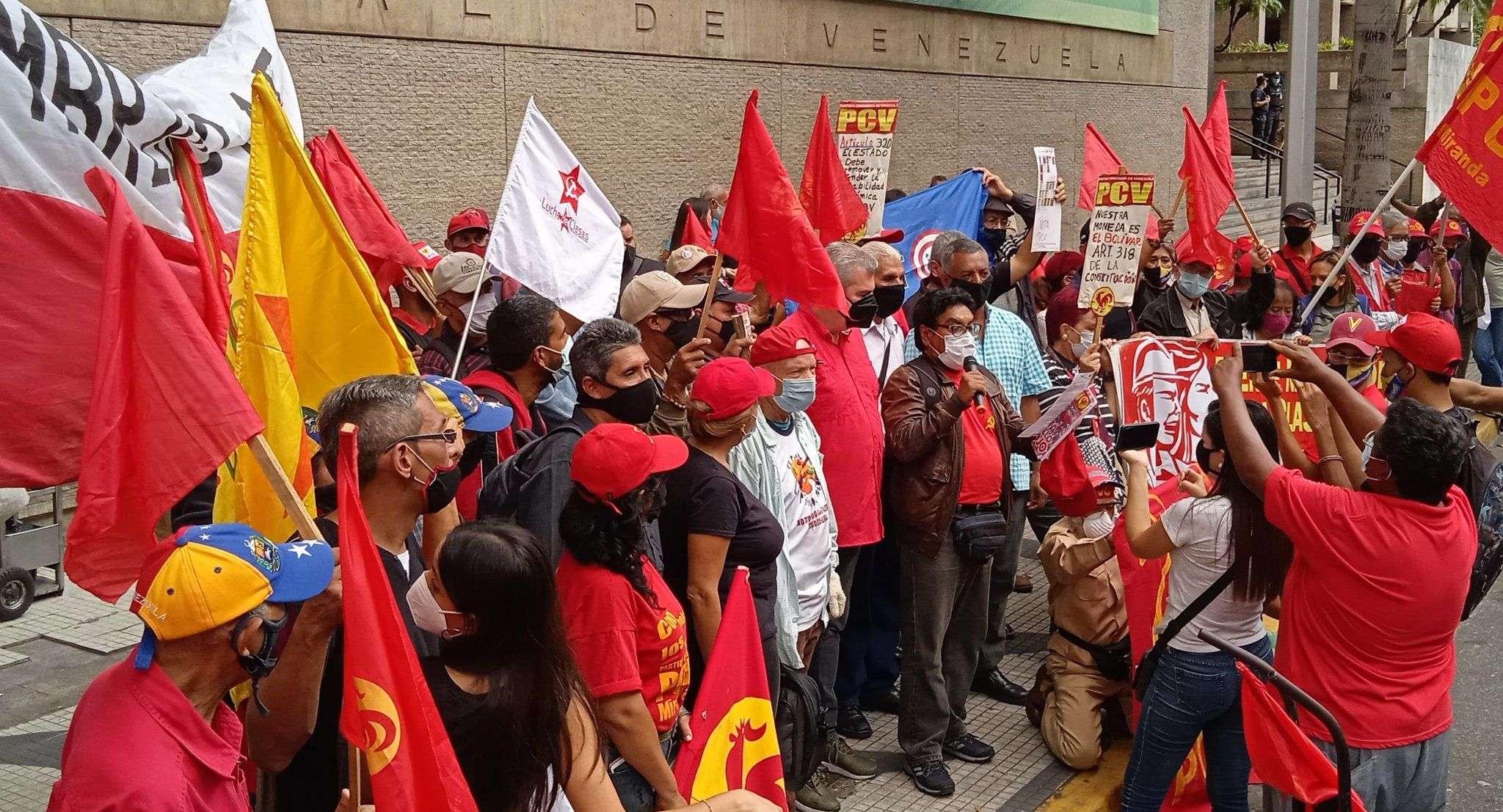 Partido Comunista de Venezuela denunciar el bloqueo mediático manifestacion