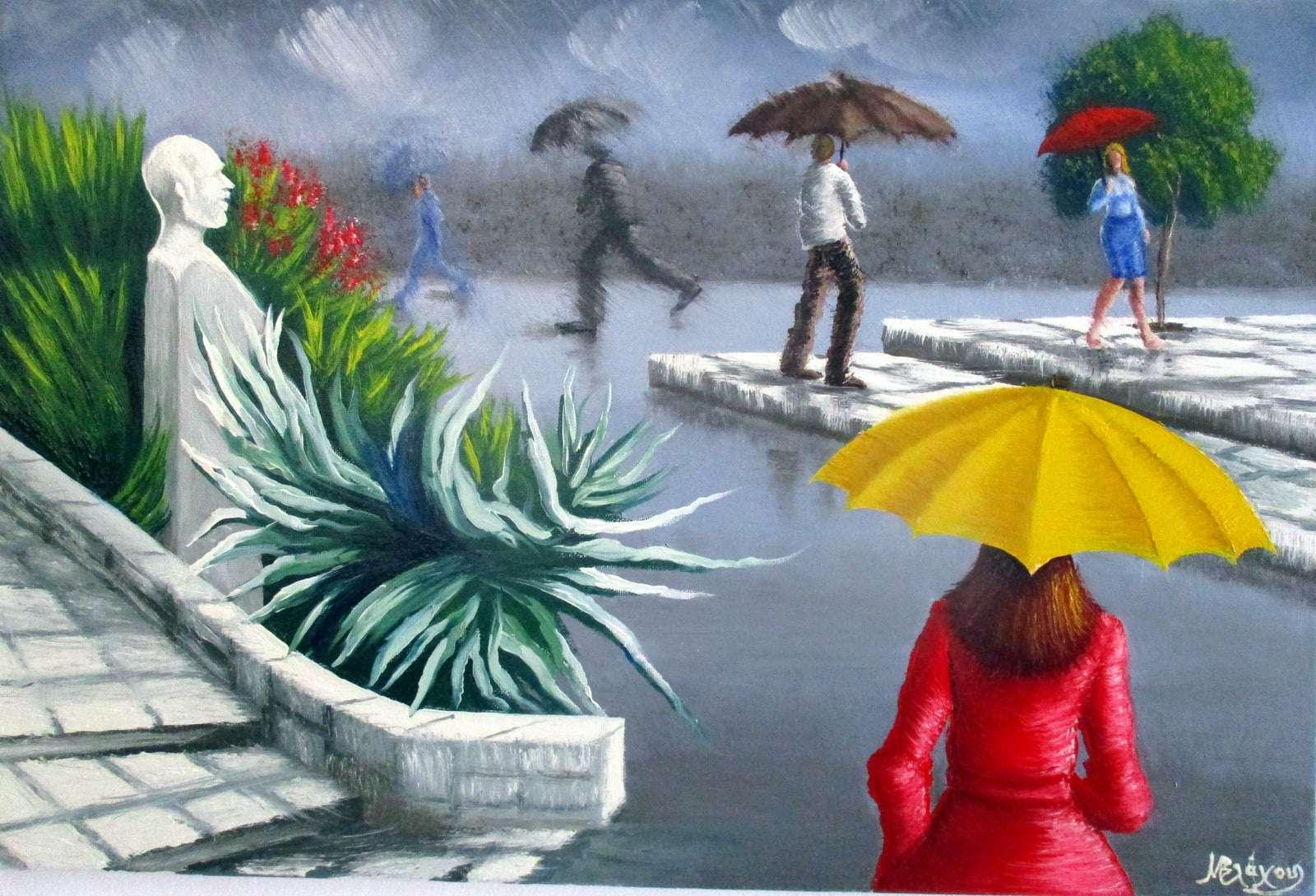 Στην Κέρκυρα της βροχής Μαρίλη Βλάχου, Λάδι σε καμβά