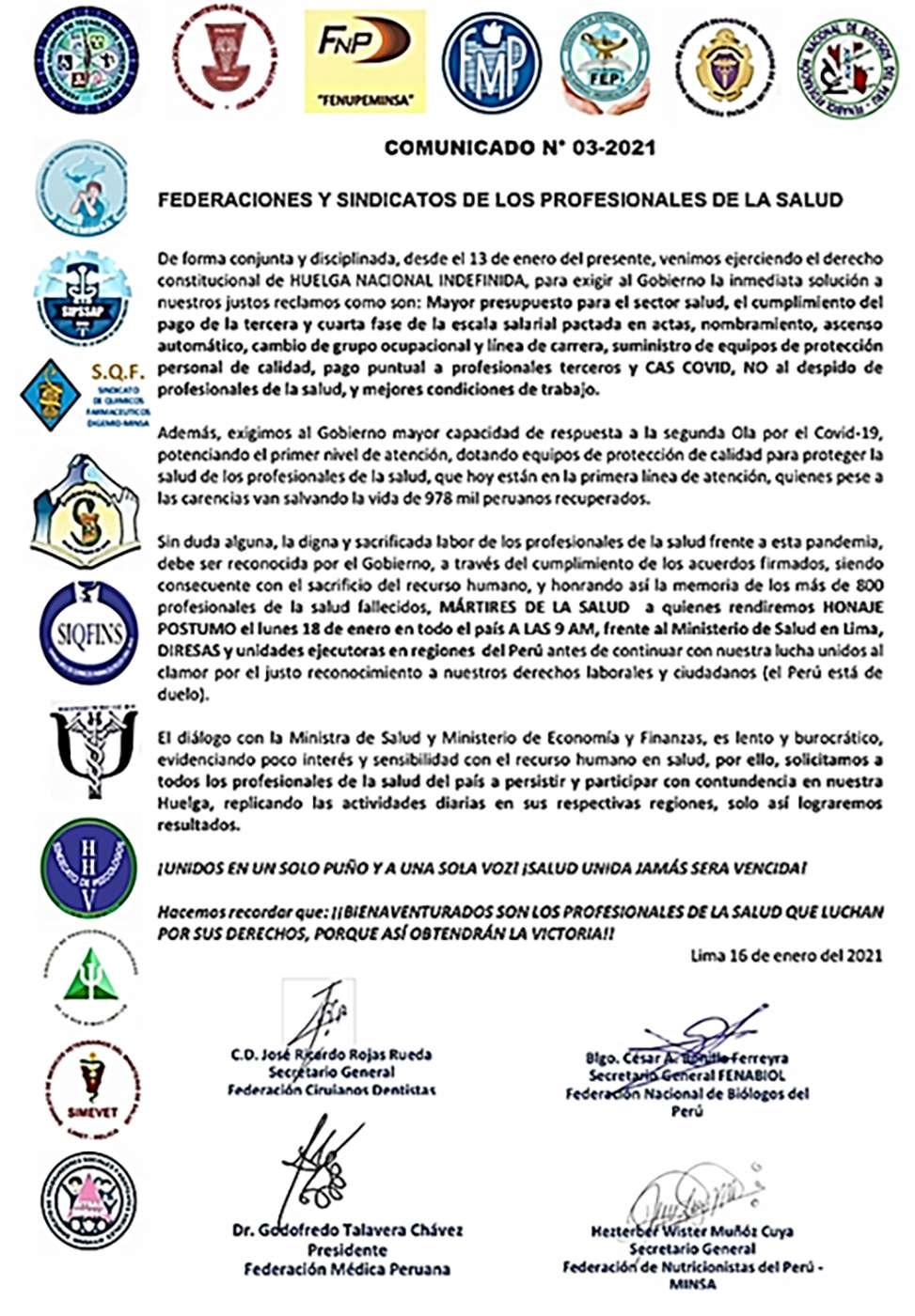 Perú Médicos decison huelga indefinida 16 1 2021