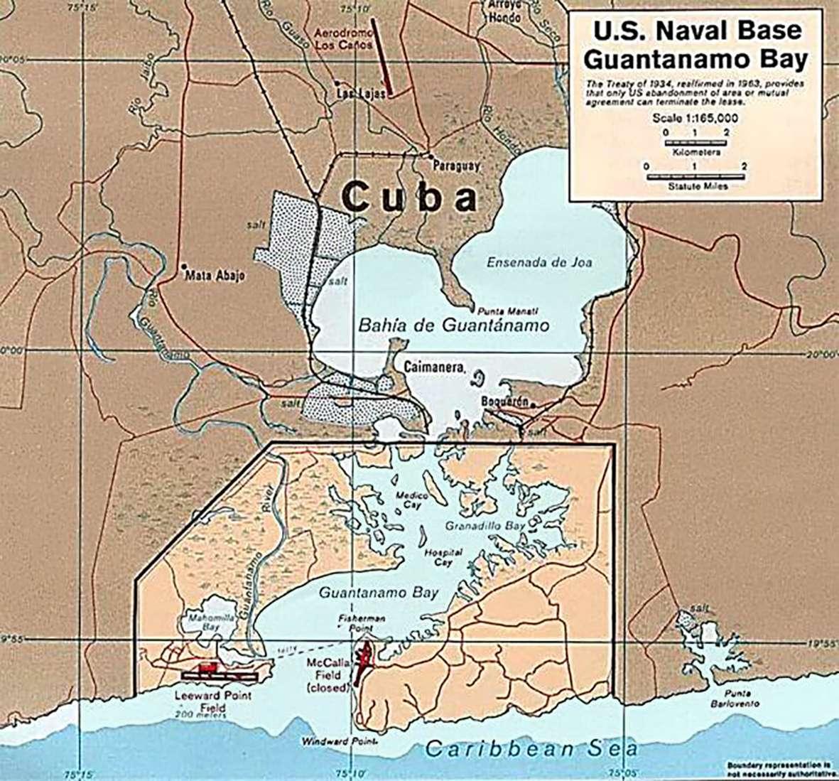 Guantanamo Γκουαντάναμο Gitmo bay base map
