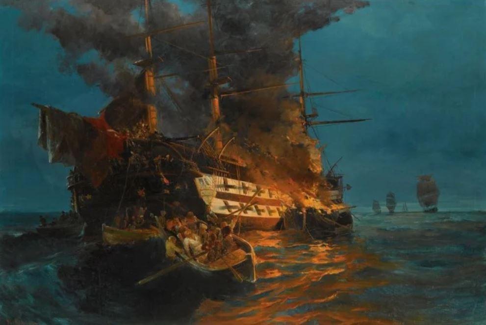 κάψιμο τουρκικής φρεγάτας του Κωνσταντίνου Βολανάκη