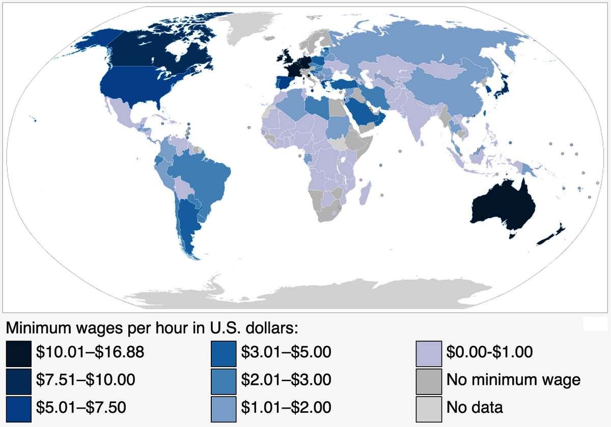 Minimum wage world - Κατώτατο ωρομίσθιο