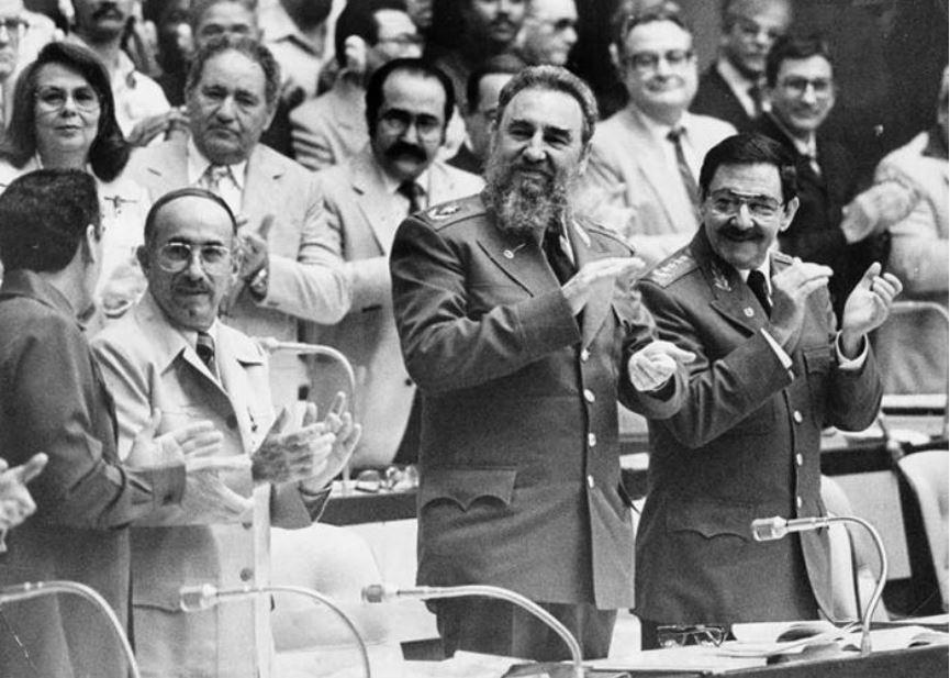 Fidel Raúl Castro José Machado Ventura en el 3er Congreso del PCC