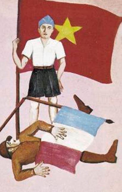 Αφίσα Βιετμίνχ καταστροφή του γαλλικού στρατού το 1945 Ινδοκίνα