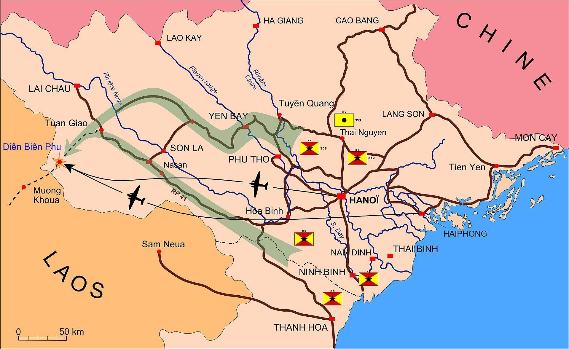 Plan de situation de la bataille de Dien Bien Phu 20-Νοε-1953 ως 7-Μαΐ-1954