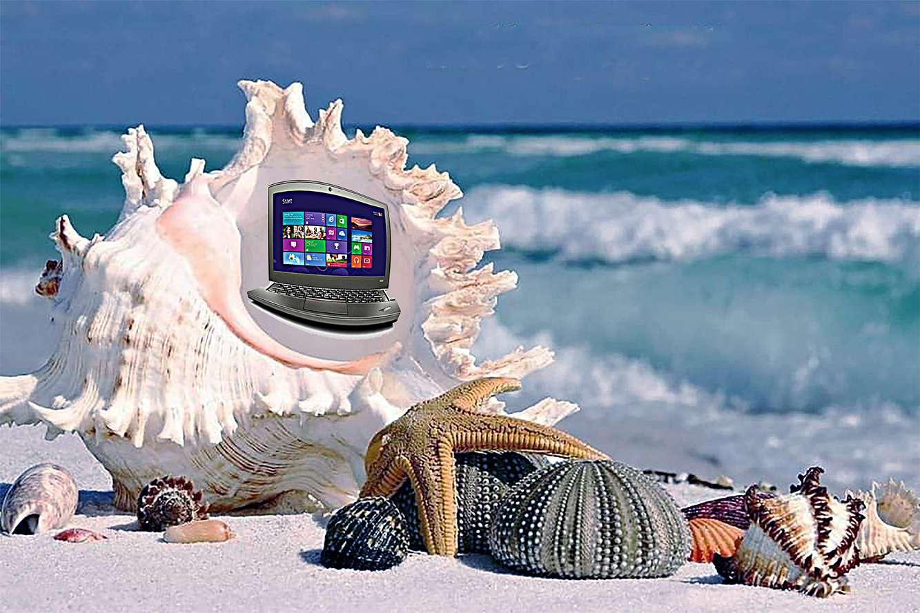 Παραλία + lap top
