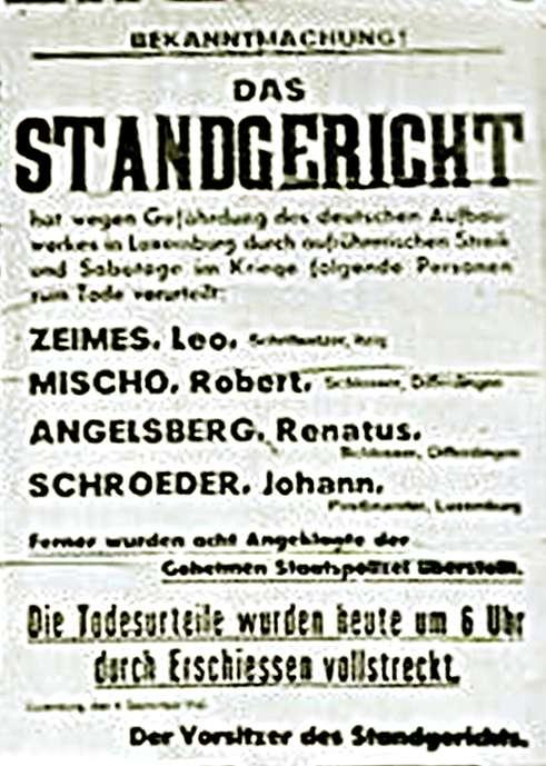 Λουξεμβούργο 1942 Απεργία Καταδίκη