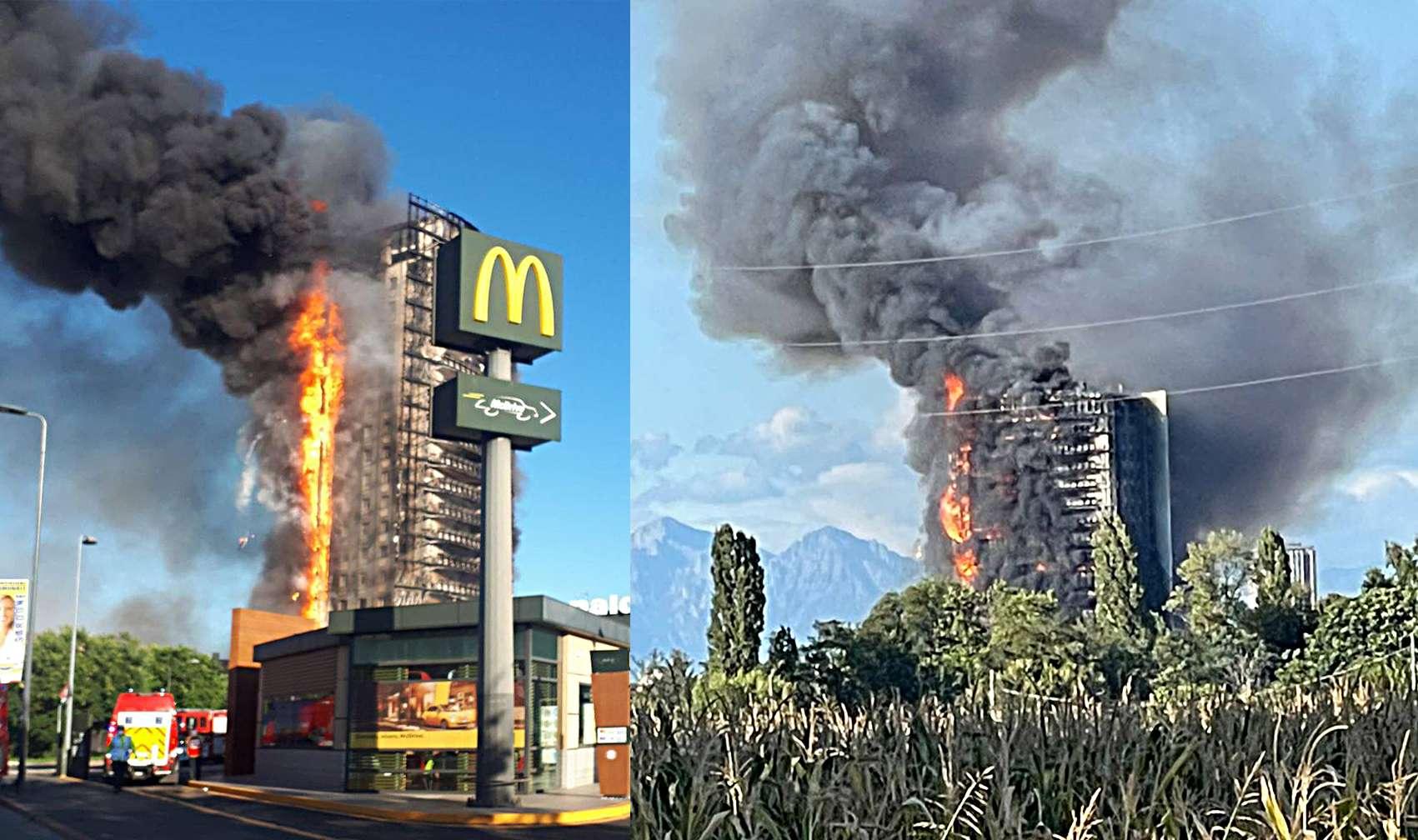 Maxi incendio in palazzo a Milano