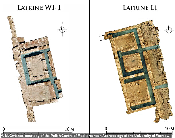 The latrines at the complex in Merea were … set in a location away from houses which proves that the city was developed for its time The connected sewers are in blue