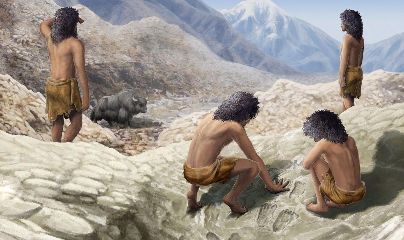 Τέχνη 200.000 ετών στο Θιβέτ Artist's imagining of two mid Pleistocene hominins making their marks